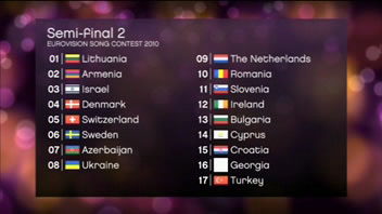 Full running order for the two semi-finals at the 2010