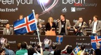 Sjonni's Friends took the press centre by storm with Eurovision Medley