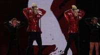 Jedward on stage at the Eurovision Song Contest