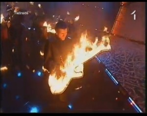 Eirodziesma 2012 - Elizabete's musicians set fire at stage