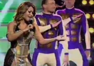 Hajtana on stage in Ukrainian national final