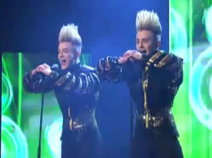 Jedward on stage at the 2012 Irish national final