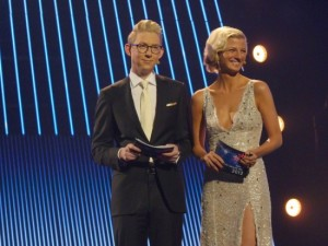 louise Wolff with her co-host on Dansk Melodi Grand Prix, Emil Thorup