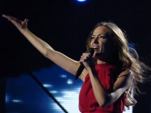 Kate Hall on stage in Dansk Melodi Grand Prix