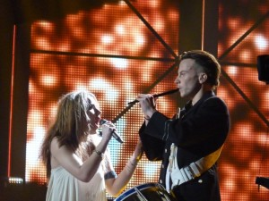 Emmelie de Forest with one of her drummers at the Dansk Melodi Grand Prix 2013