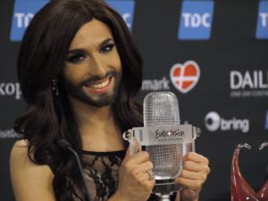 Conchita Wurst from Austria at the winners press conference