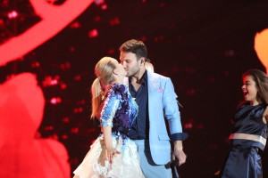 Monika Linkytė and Vaidas Baumila representing Lithuania at the Eurovision Song Contest 2015