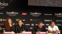 Mørland & Debrah Scarlett and Måns Zelmerlöw at the press conference after Semi-final 2
