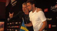 Måns Zelmerlöw representing Sweden at the press conference after Semi-final 2