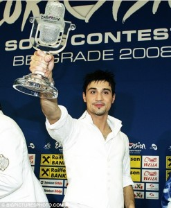 Dima Bilan with the trophy in 2008