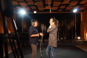 Gabriela & Ivan in the studio recording the Bulgarian song for the 2015 JESC