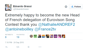 Edoardo Grassi's announcement as the new French Head of Delegation