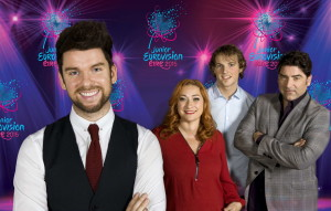 The host and the jury's members of the Irish final