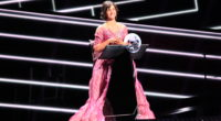 Petra Mede rehearsing the announcement of the votes