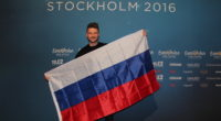 Sergey Lazarev with the Russian flag