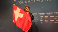 Rykka from Switzerland at her press conference in Stockholm