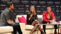 ManuElla from Slovenia at her press conference in Stockholm