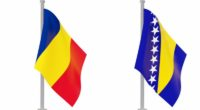 Romania and Bosnian and Herzegovina flags on poll